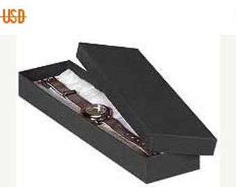 STOREWIDE SALE 100 Pack Matte Black Kraft Color Cotton Filled 8X2X1 Inch Size Retail Jewelry Gift Presentation Boxes