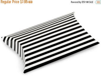 STOREWIDE SALE 12 Pack Black and White Stripe Paper Pillow Boxes 3 X 3.5 X 1 Inch Size Great Packaging for Gifts, Party Favors, and More
