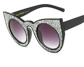 Oversize Cat Eye Sparkling Silver Sunglasses Torture Couture Cateye Glamour Pinup Sunnies