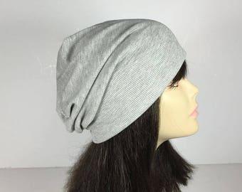 FREE SHIPPING Linings Mens Rib Knit Hat Mens Slouchy Hats Light Gray Unisex Hats Reversible Slouchy Hats Womens Rib Beanies Lightweight Hats