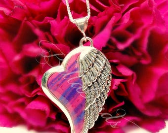 Cremation Memorial Flower Jewelry Made with Your Flower Petals,Personalized Jewelry,Remembrance Keepsakes, Heart of an Angel Pendant