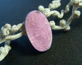 RESERVED - Gumball Pink Cobalt Calcite Druzy Long Oval - Single - 14.5x25mm