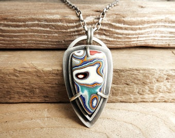 Fordite necklace, Detroit Agate necklace, fordite jewelry, sterling silver statement necklace, girlfriend gift, wife gift for her