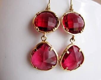 Red Valentine Earrings, Bohemian, Mid Century Modern, Red Teardrop, Red Wedding, Bridesmaid Earrings, Gardendiva