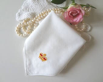 Vintage Coronation Handkerchief Queen Elizabeth II Souvenir 1953 Hand Embroidered Crown Hankie - EnglishPreserves