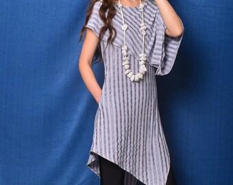 Free Shipping SALE Size M Nile Garden - asymmetrical cotton tunic deconstructed boho tunic dress extravagant dress / grey t shirt  (Y19b6)