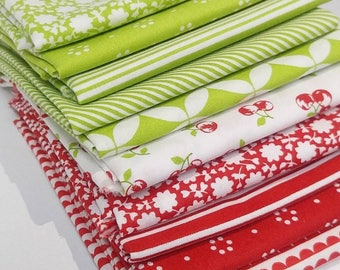 Red and Green Bonnie & Camille Fat Quarter Bundle - 10 FQ's