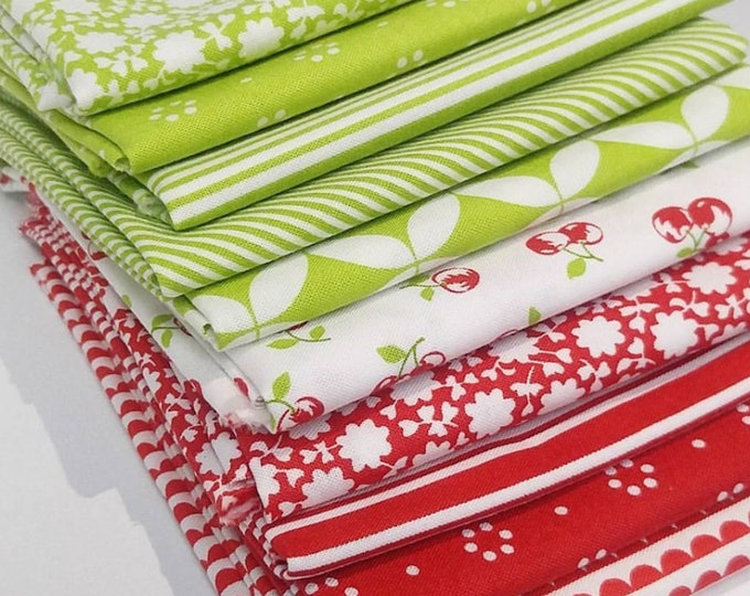 Featured listing image: Red and Green Bonnie & Camille Fat Quarter Bundle - 10 FQ's