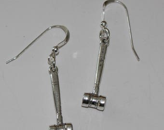Sterling Silver 3D GAVEL Earrings - Law, Lawyer, Judge, Court, Paralegal, Legal Secretary