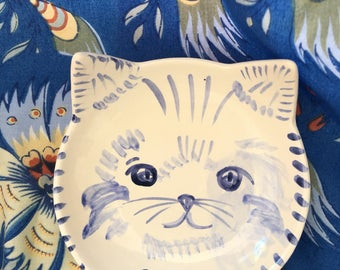 Kitty Bowl, Ceramic Cat Bowl, Blue and White Cat Dish, Personalized Cat Dish