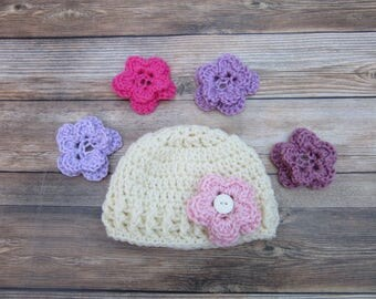 Baby Girl Hats, Baby Flower Hat, Newborn Easter Hat, 0-3 Months, 3-6 Months, 6-12 Months, Newborn Hospital Hat, Baby Coming Home Hat