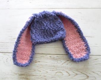 Fuzzy Baby Bunny Hat, Floppy Ear Bunny Hat, Baby Easter Hat, Baby Girl Bunny Hat, Newborn Rabbit Hat, Newborn Easter Hat, Baby Spring Hat