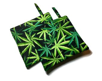 Quilted Pot Holders Marijuana Pot Leaves Black Green Alexander Henry Herb