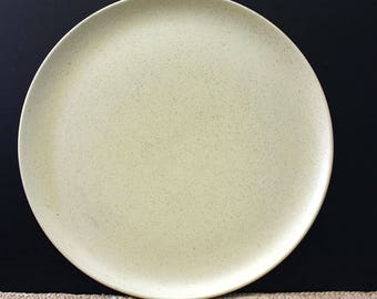 Laurel Ceramastone Speckled yellow chop plate.  Mid century modern California Pottery.
