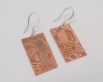 Steampunk jewelry copper metal earrings.Steampunk earrings.