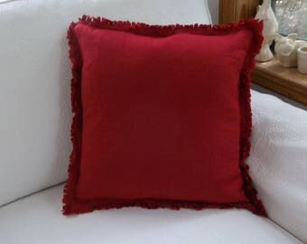 Christmas Red Linen Pillow Custom Sizes Green Frayed Edge Pillow Bedroom Pillows Decorative Pillows Lumbar Pillow Custom Pillows