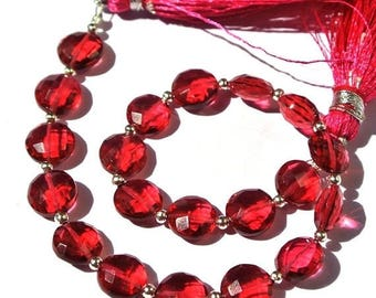 50% Off Sale 8 Inches Super Finest AAA Red Quartz Faceted Coin Briolettes Size 8x8mm Approx