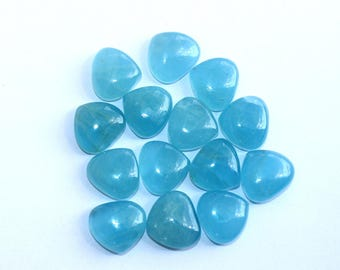 2 Pcs 15x16mm Finest Quality Natural Milky Aquamarine Smooth Heart Cabochon / Semiprecious Loose Gemstone Cabochon LR60