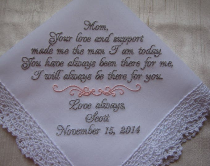 Personalized Wedding Handkerchief Mother of Groom Gift from Son, Custom Wedding Handkerchiefs, Groom to Mother Gift, Embroidered Hankies