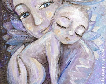 Chosen, purple and blue mother and child print with sun flower