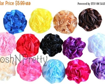 """20% OFF EXP 06/30 Five NEW 3"""" Satin Single Ruffle flowers - Choose Colors"""