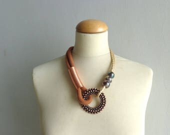 Brown gold statement necklace