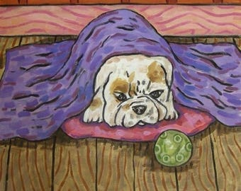 20 % off storewide bulldog, TILE, coaster, gift, modern folk art, bedroom art, sleeping dog, bulldog puppy,dog, dog art, dog tile