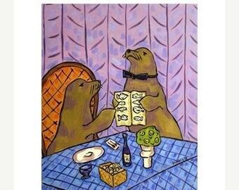20 % off storewide Sea lion Food Critic Animal Art Print 11x14 JSCHMETZ modern abstract folk pop art american ART gift