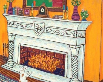 20% off storewide Jack Russell Terrier by the Fireplace Dog Art Tile Coaster Gift