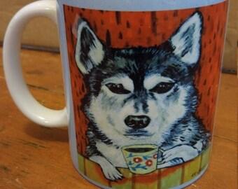 20% off Husky at the cafe coffee shop dog art mug cup