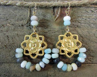 Signature Gemstone Earrings, Lapis, Chrysoprase, Turquoise, Gold Jewelry