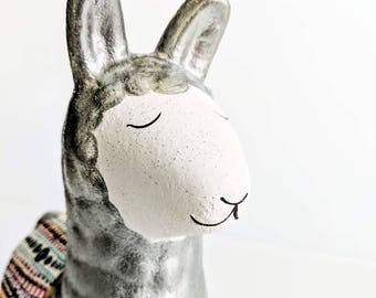 Llama Coin bank: hand painted ceramic coin bank piggy bank