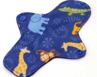 "8"" Ultrathin Reusable Cloth Pantyliner Minipad - Cotton Flannel top - Blue Jungle"