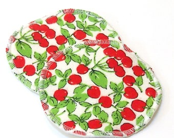 "Large 5"" Reusable Cloth Nursing Pad Set in Bamboo/Organic Cotton with poly fleece - cotton flannel top - Cherries"
