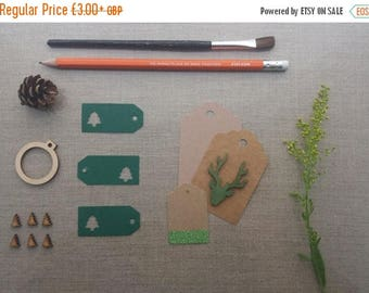 CLOSING DOWN SALE Festive forest green small Christmas tree gift tags set pre-strung with bakers twine