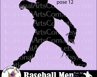 Baseball Men pose 12 Catcher Silhouette Vinyl Ready Images digital clipart graphics 1 EPS, 1 SVG & 1 PNG and Small Commercial License