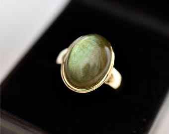 AAA Labradorite Cabochon 8.53 carats  16x12mm in 14K Yellow gold ring, also available in Rose or White gold 1105