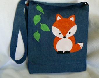 Fox Messenger Bag|Kid Messenger Bag|Teacher Gift Bag|School Supply Bag|Cross Body Bag|Travel bag|Gift for Teenager|Elementary School Bag