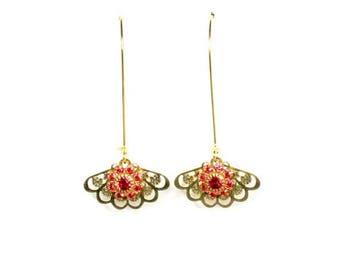 HALF PRICE SALE Vintage golden pink crystal flower filigree fan charm dangle earrings Last One