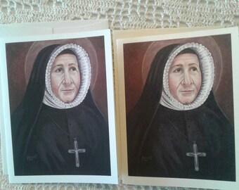 Saint Madeleine Sophie Barat Stationary Cards W/Envelopes on White & Ivory Card Stock, Image taken from my Signed, Original Acrylic Painting