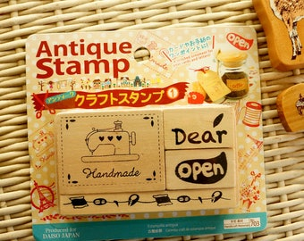 Kawaii Japanese Antique Style Wooden Craft Stamp