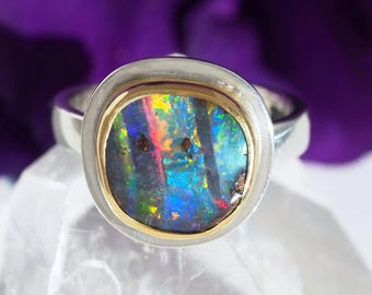 Sterling Silver 22K Gold Australian Koroit Boulder Opal ring - Opal Ring - US size 6 1/4 - Opal promise ring - size 6.25 - opal engagement