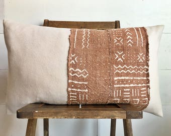 """One of a kind Neutral wool 15x26"""" lumbar pillow cover with rust African mudcloth stripe! Modern/ boho/ only ONE available !"""