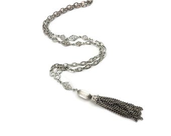 Vintage Tassel Necklace - Silver 1960s 1970s Costume Jewelry