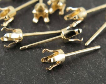 Gold Filled 4mm Snap Setting Ear Post ~ PAIR (CG9270)