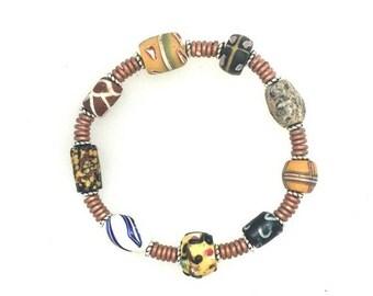 OnSale African Trade Bead Bracelet #3.  6 1/2 ins