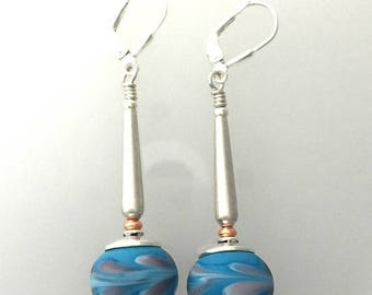 Summer Sale Lamp Work Glass and Sterling Silver Earrings. #1