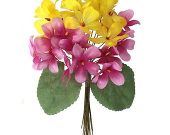 Bouquet of 24 Yellow & Pink Ombre Fabric Violets ~ Czech Republic  NFC 040YPK