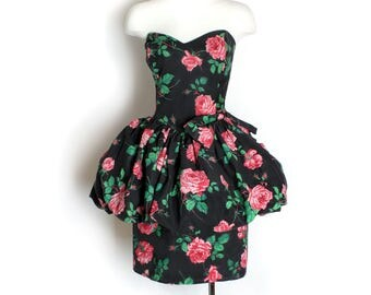 1980's Katy Perry Black Floral Bubble Peplum Dress - MED