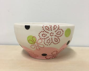 handmade small porcelain bowl: Dot Dot Floral by Meredith Host in Pink